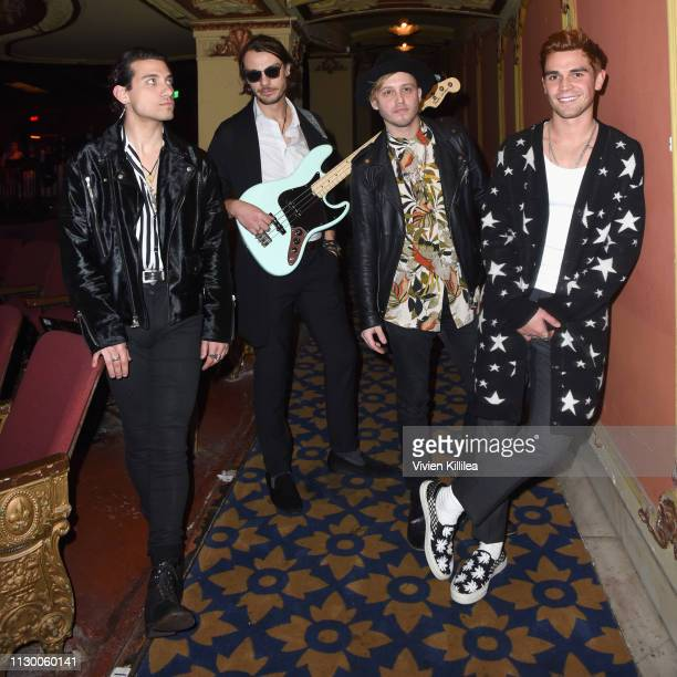 Rob Raco Bradley Merryfield Josh Wypers and KJ Apa of The Good Time Boys attend Teen Vogue's Young Hollywood Party presented by Snap at Los Angeles...