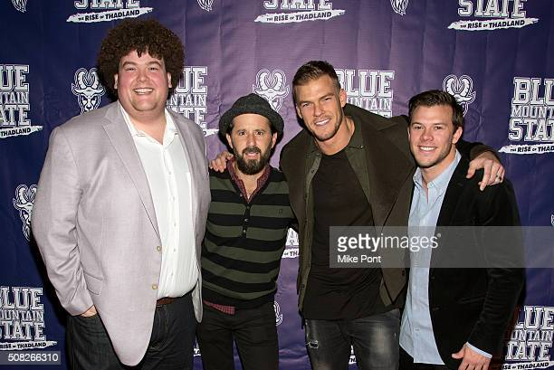 Rob Ramsay Chris Romanski Romano Alan Ritchson and Jimmy Tatro attend the Blue Mountain State The Rise of Thadland New York Premeire at Landmark's...