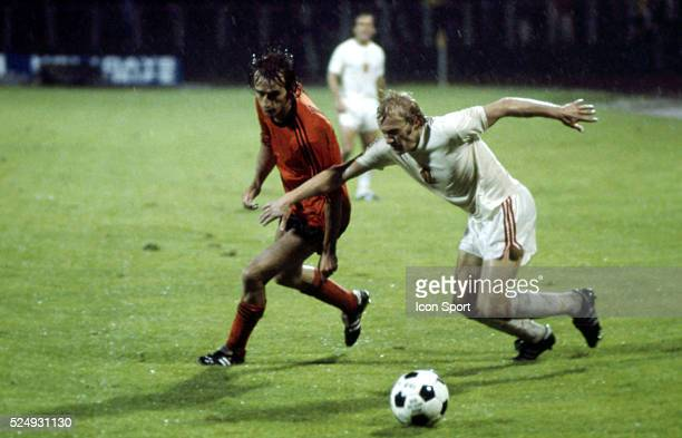 Rob Rensenbrink of Holland and Jan Pivarnik of Czechoslovakia during the European Championship between Czechoslovakia and Holland in Stadium Maksimir...