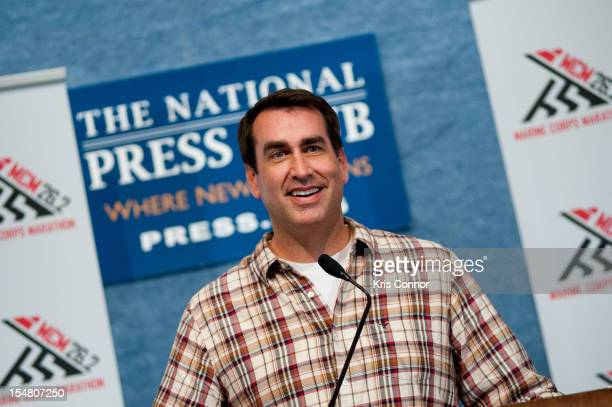 Rob Riggle speaks during the 2012 Marine Corps Marathon press conference at The National Press Club on October 26 2012 in Washington DC