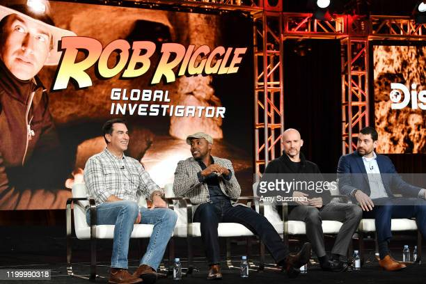 Rob Riggle Will Packer Kelly Smith and Matthew Kelly of Rob Riggle Global Investigation speak during the Discovery Channel segment of the 2020 Winter...