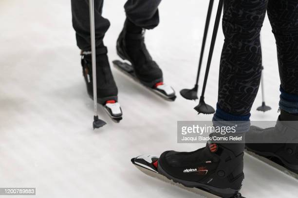 Rob Rinder and Louise Minchin train on February 7 2020 in London England The celebrities are training for Sport Relief On Thin Ice as they prepare to...