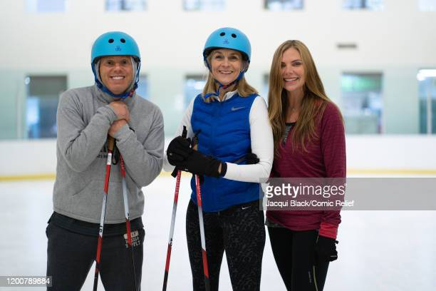 Rob Rinder Louise Minchin and Samantha Womack pose for the camera during a training session on February 7 2020 in London England The celebrities are...