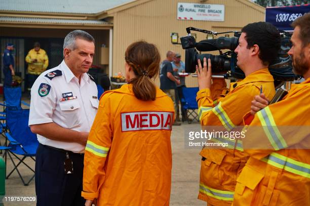 Rob Rogers, Deputy Commissioner of the NSW Rural Fire Service is pictured speaking to the media on January 5, 2020 in Wingello, Australia. A state of...