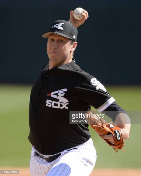Rob Scahill of the Chicago White Sox pitches against the Texas Rangers on February 28 2018 at Camelback Ranch in Glendale Arizona