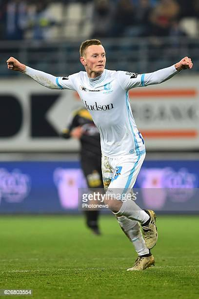 Rob Schoofs midfielder of KAA Gent celebrates after the 10 during the Croky Cup match between KAA Gent and KSC LOKEREN in the Ghelamco Arena stadium...