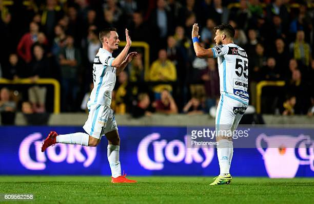 Rob Schoofs midfielder of KAA Gent celebrates scoring a goal pictured during Croky cup 1/16 F match between KSK Lierse and KAA Gent on september 21,...