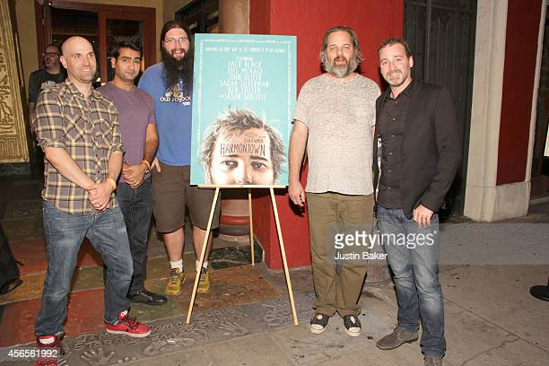 Rob Schrab Kumail Nanjiani Spencer Crittenden Dan Harmon and Neil Berkeley attend the Harmontown Los Angeles special screening at the Vista Theatre...