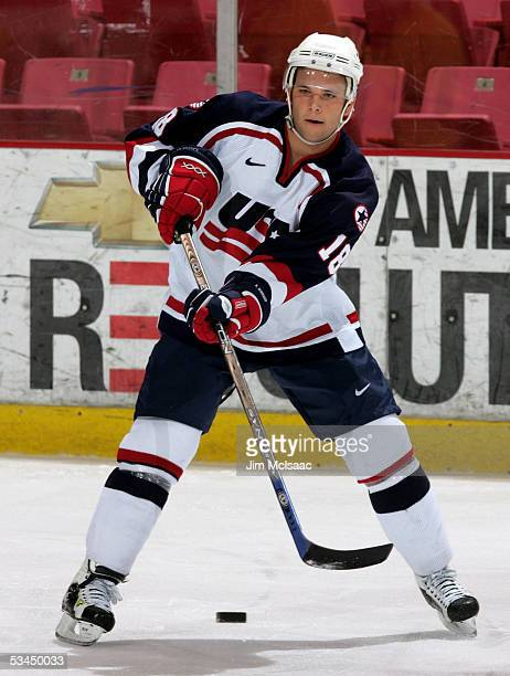 Rob Schremp #!8 of the United States passes against Sweden during USA Hockey's Junior Men's Summer Challenge on August 12, 2005 at the Olympic Center...