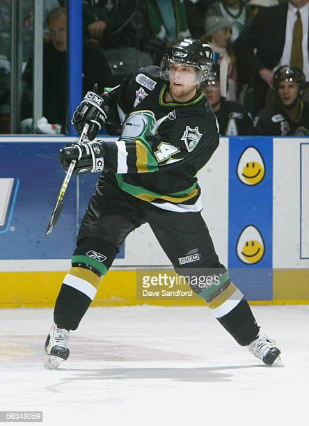Rob Schremp of the London Knights shoots the puck against the Guelph Storm during their OHL game at the John Labatt Centre November 17 2005 in London...