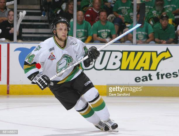 Rob Schremp of the London Knights skates against the Rimouski Oceanic during the finals of the Mastercard Memorial Cup Tournament at the John Labatt...