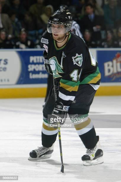 Rob Schremp of the London Knights skates against the Saginaw Spirit at the John Labatt Centre on December 9, 2005 in London, Ontario, Canada. The...