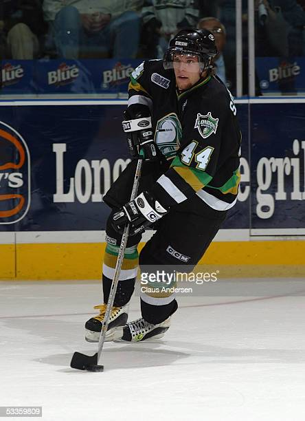 Rob Schremp of the London Knights skates with the puck during a Ontario Hockey League game against the Windsor Spitfires at the John Labatt Centre on...