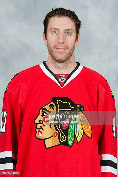 Rob Scuderi of the Chicago Blackhawks poses for his official headshot for the 20152016 season on December 15 2015 at the United Center in Chicago...