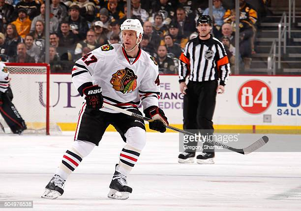 Rob Scuderi of the Chicago Blackhawks skates against the Pittsburgh Penguins at Consol Energy Center on January 5 2016 in Pittsburgh Pennsylvania