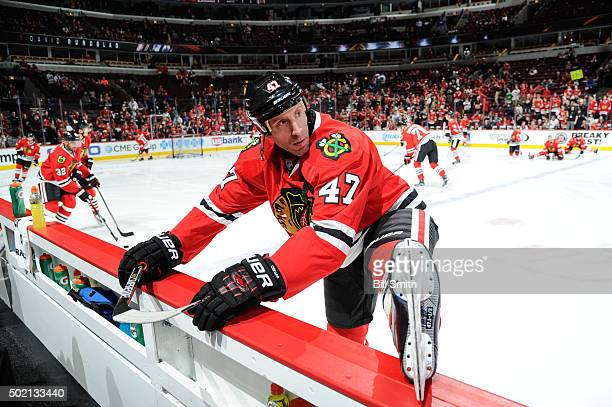 Rob Scuderi of the Chicago Blackhawks warms up prior to the NHL game against the San Jose Sharks at the United Center on December 20 2015 in Chicago...