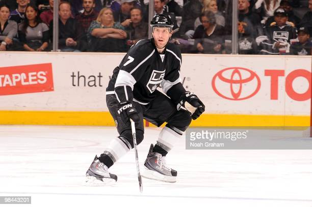 Rob Scuderi of the Los Angeles Kings looks for the puck against the Phoenix Coyotes on April 8 2010 at Staples Center in Los Angeles California