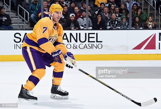 Rob Scuderi of the Los Angeles Kings skates during the game against the Vancouver Canucks on March 7 2016 at Staples Center in Los Angeles California