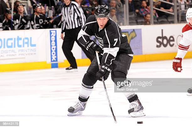 Rob Scuderi of the Los Angeles Kings skates with the puck against the Phoenix Coyotes on April 8 2010 at Staples Center in Los Angeles California