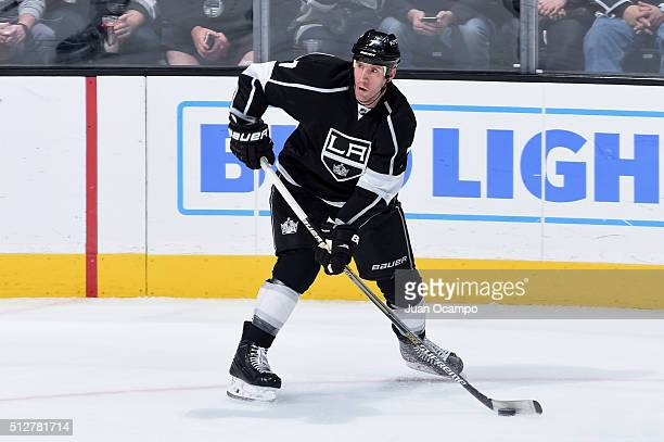 Rob Scuderi of the Los Angeles Kings skates with the puck during the game against the Buffalo Sabres on February 27 2016 at Staples Center in Los...