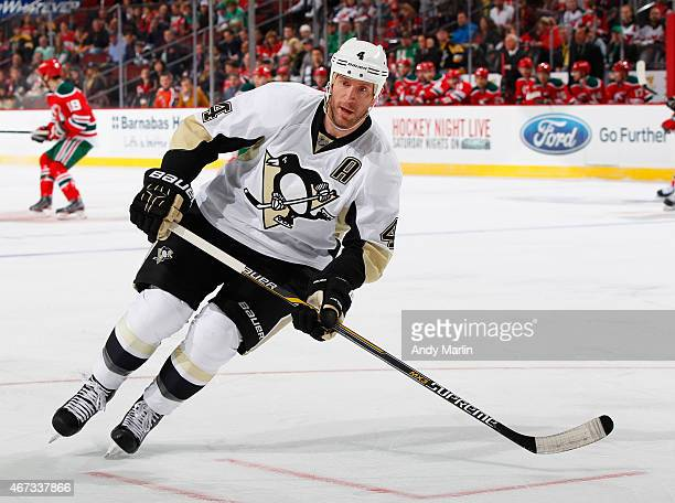 Rob Scuderi of the Pittsburgh Penguins skates against the New Jersey Devils during the game at the Prudential Center on March 17 2015 in Newark New...