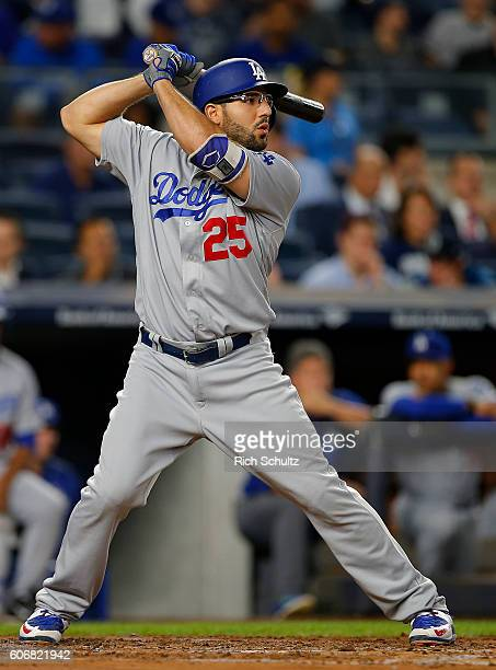 Rob Segedin of the Los Angeles Dodgers in action against the New York Yankees during a game at Yankee Stadium on September 13 2016 in New York City