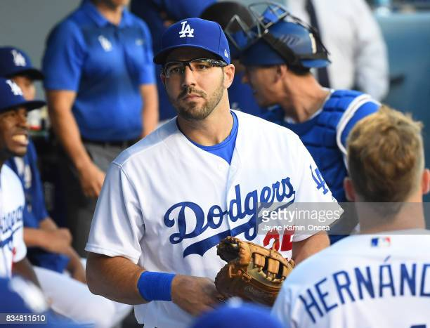 Rob Segedin of the Los Angeles Dodgers in the dugout for the game against the Chicago White Sox at Dodger Stadium on August 16 2017 in Los Angeles...