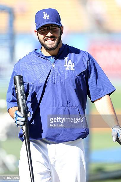 Rob Segedin of the Los Angeles Dodgers looks on before Game 5 of the NLCS against the Chicago Cubs at Dodger Stadium on Wednesday October 20 2016 in...