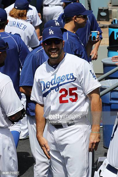 Rob Segedin of the Los Angeles Dodgers looks on from the dugout prior to the MLB game at Dodger Stadium on September 4 2016 in Los Angeles California...