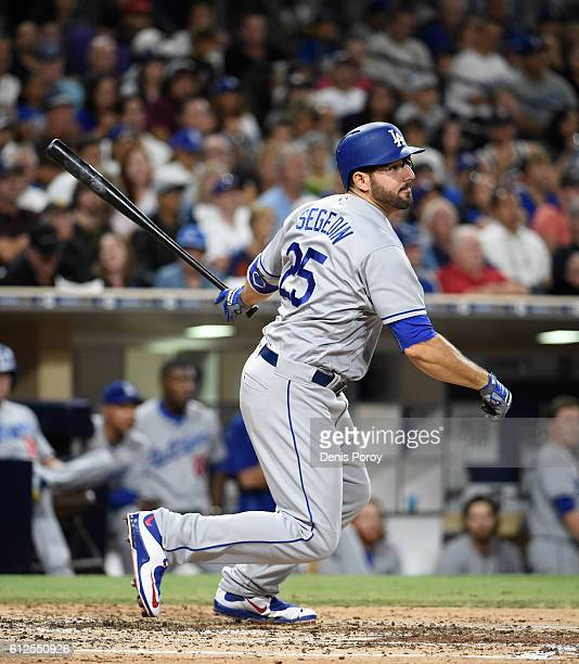 Rob Segedin of the Los Angeles Dodgers plays during a baseball game against the San Diego Padres at PETCO Park on September 29 2016 in San Diego...