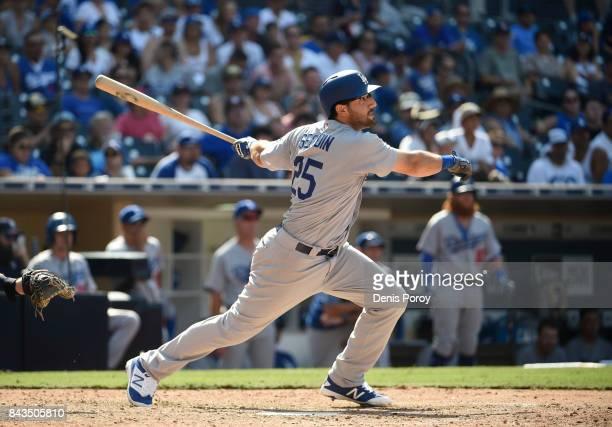 Rob Segedin of the Los Angeles Dodgers plays during a baseball game against the San Diego Padres at PETCO Park on September 2 2017 in San Diego...