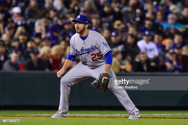 Rob Segedin of the Los Angeles Dodgers plays third base against the Colorado Rockies at Coors Field on September 29 2017 in Denver Colorado