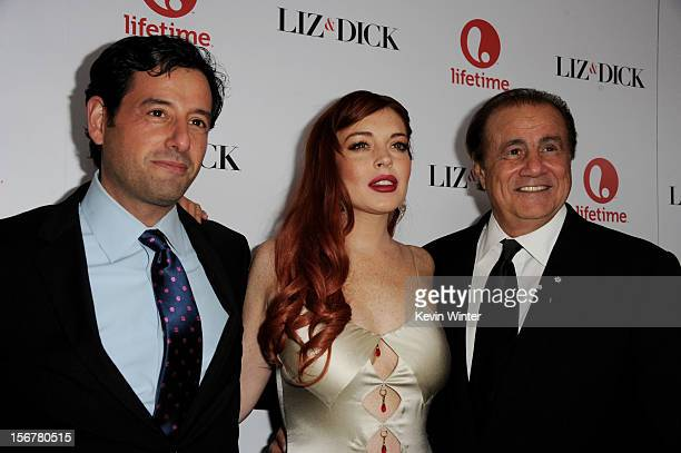 Rob Sharenow EVP Programming Lifetime actress Lindsay Lohan and producer Larry Thompson arrive at a party to celebrate Lifetime's Liz Dick at the...