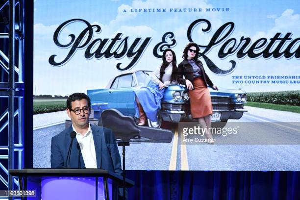 Rob Sharenow introduces the TCA Press panel for Lieftime's movie Patsy Loretta at The Beverly Hilton Hotel on July 23 2019 in Beverly Hills California