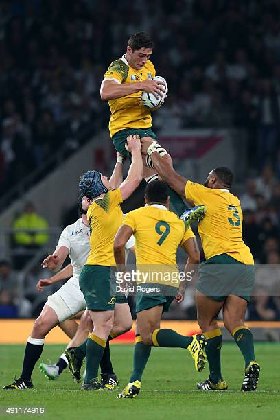 Rob Simmons of Australia wins the ball in the line out during the 2015 Rugby World Cup Pool A match between England and Australia at Twickenham...