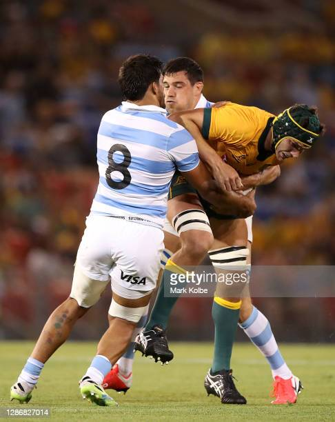 Rob Simmons of the Wallabies is tackled during the 2020 Tri-Nations match between the Australian Wallabies and the Argentina Pumas at McDonald Jones...