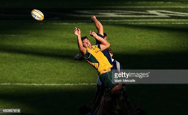 Rob Simmons of the Wallabies takes a lineout during the International Test match between the Australia Wallabies and France at Allianz Stadium on...