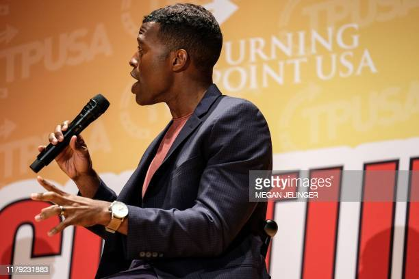 Rob Smith speaks at Turning Point USA Culture War event at the Ohio State University in Columbus Ohio on October 29 2019 The organizations mission is...
