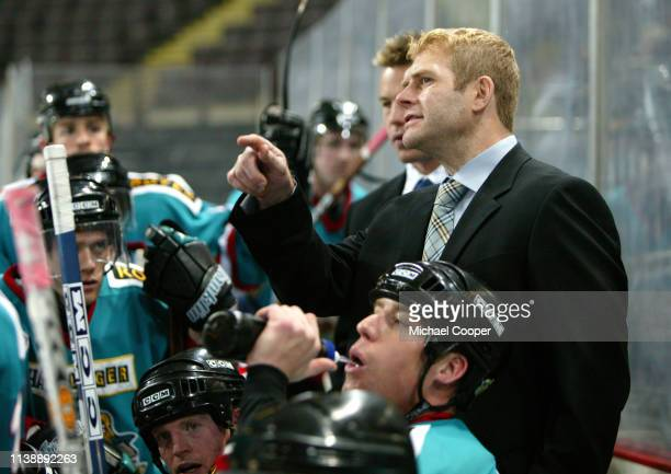 """Rob Stewart, player/coach of the Belfast Giants ice hockey team in action at the National Ice Centre, Nottingham, England. """"n""""n"""