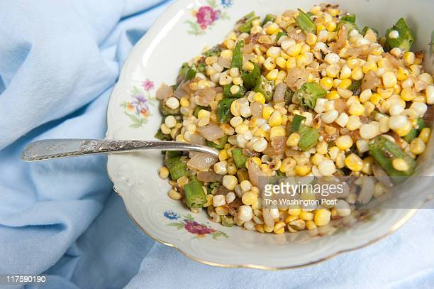 Rob Stewart's Southern Saute of Okra Corn Onion and Herbs is pictured a splash of vermouth is added at the end to help deglaze the pan Rob Stewart...