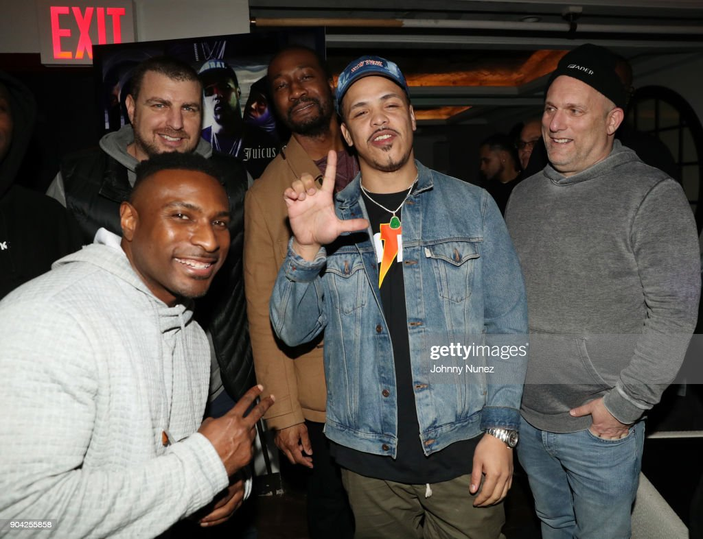 Rob Stone (rear), Younglord, Yomi Desalu, Axel Leon, and Steve Rifkind attend Axel Leon's Private Dinner Hosted By Steve Rifkind at Jimmy's on January 11, 2018 in New York City.