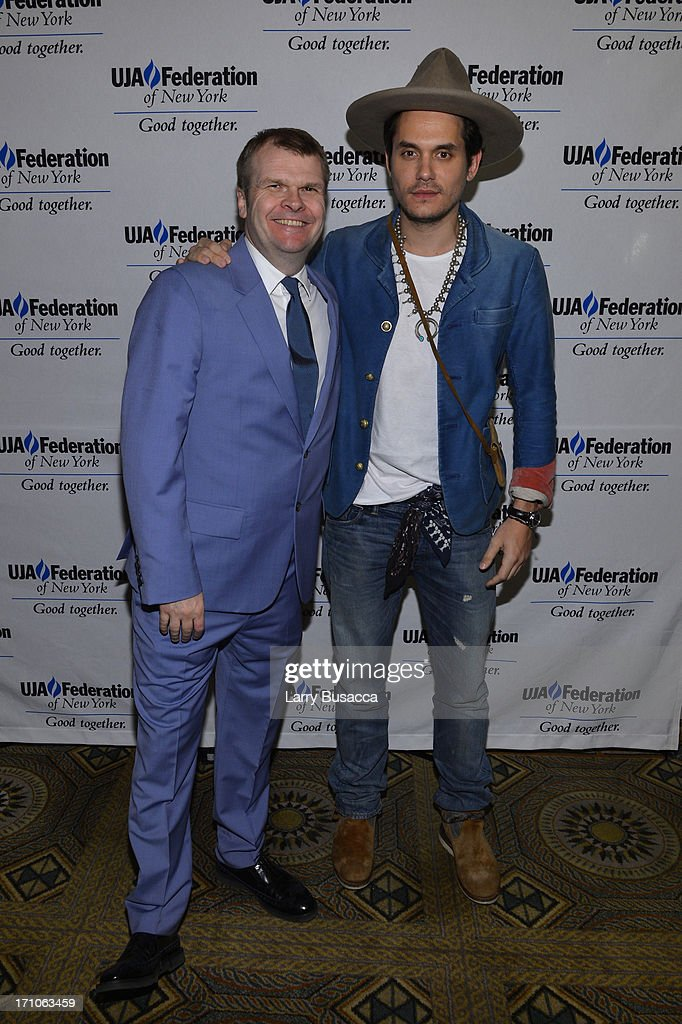 Rob Stringer and John Mayer attend a luncheon honoring Rob Stringer as UJA-Federation of New York Music Visionary of 2013 at The Pierre Hotel on June 21, 2013 in New York City.