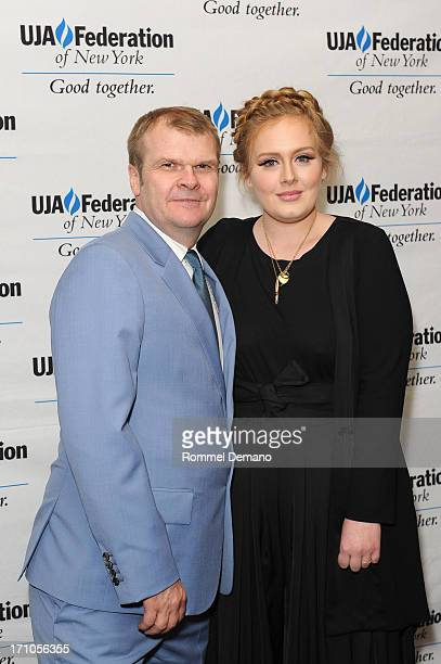 Rob Stringer and singer Adele attend the UJAFederation Of New York Music Visionary Of The Year Award Luncheon at The Pierre Hotel on June 21 2013 in...