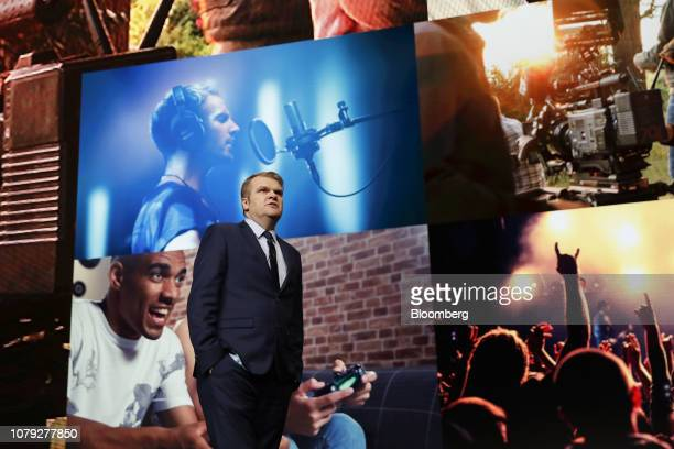 Rob Stringer chief executive officer of Sony Music Entertainment speaks during the Sony Electronics Inc event at the 2019 Consumer Electronics Show...