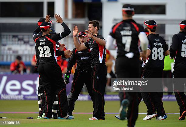 Rob Taylor of Leicestershire Foxes celebrates bowling out Mark Stoneman of Durham Jets during the NatWest T20 Blast match between Leicestershire...