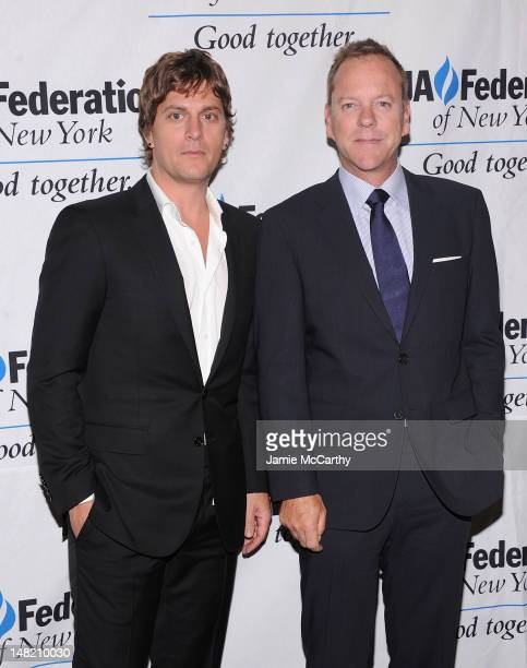Rob Thomas and Keifer Sutherland attend the 2012 UJAFederation Music Visionary of the Year Award Luncheon at The Pierre Hotel on July 12 2012 in New...