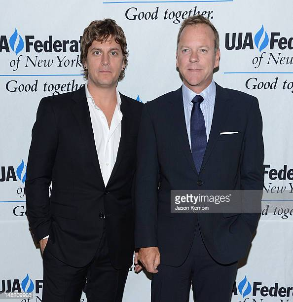 Rob Thomas and Keifer Sutherland attend the UJAFederation's Music Visionary Of The Year Award Luncheon at The Pierre Hotel on July 12 2012 in New...