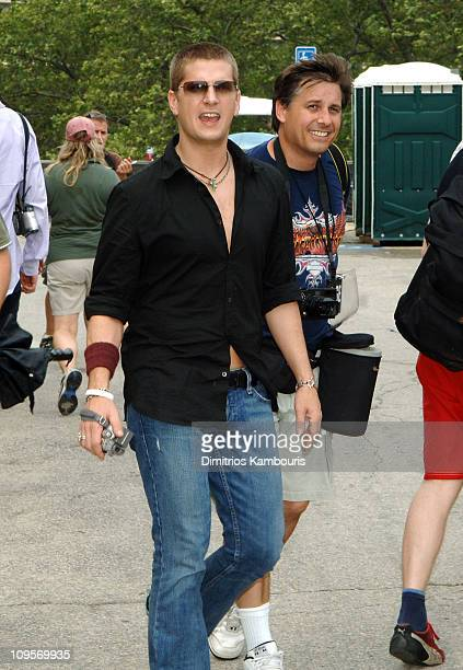 Rob Thomas and Kevin Mazur during LIVE 8 Philadelphia Rehearsals at Philadelphia Museum of Art in Philadelphia Pennsylvania United States