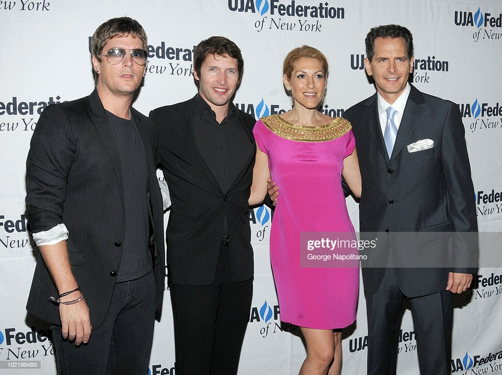 Rob Thomas, James Blunt, Julie Greenwald and Craig Kallamn attend the UJA-Federation's 2010 Music Visionary of the Year award luncheon at The Pierre Ballroom on June 16, 2010 in New York City.