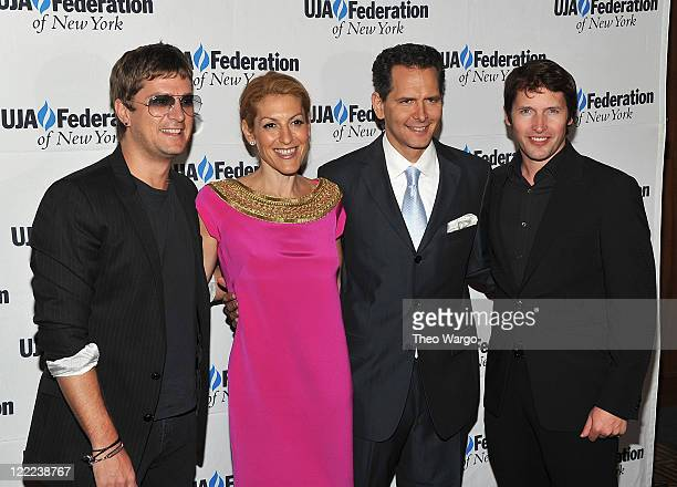 Rob Thomas Julie Greenwald Craig Kallamn and James Blunt attend the UJAFederation's 2010 Music Visionary of the Year award luncheon at The Pierre...